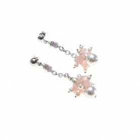 Moesi - Orecchini con perle e murrine glicine. Salemi