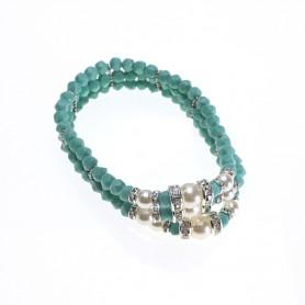 Moesi - Bracciale con perle e murrine verde-turchese. Salemi