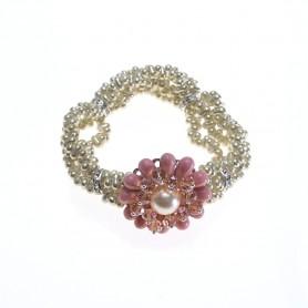 Moesi - Bracciale con murrine rosa e perle avorio. Soave