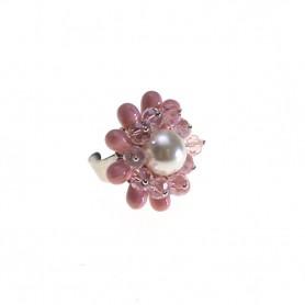 Moesi - Anello con murrine rosa e perle avorio. Soave