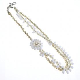 Moesi - Collana con murrine bianche e perle avorio. Soave
