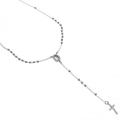 Agios - Coroncina lunga argento 925 con cristalli.
