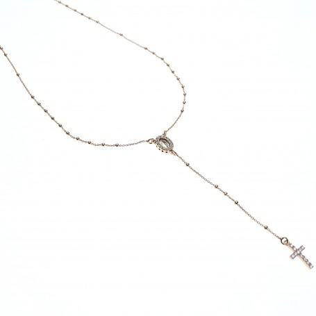 Agios - Coroncina lunga con cristalli argento rosè.