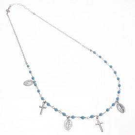 Agios - Coroncina corta argento con charms religiosi e sfere turchesi.