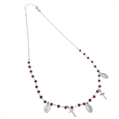Agios - Coroncina corta argento con charms religiosi e sfere rosse.