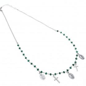 Agios - Coroncina corta argento con charms religiosi e sfere verdi.