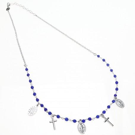 Agios - Coroncina corta argento con charms religiosi e sfere blu.