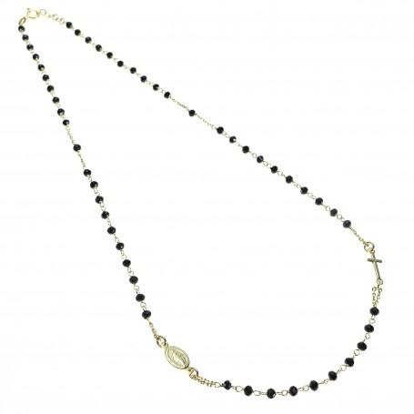 Arteregalo - Coroncina corta argento dorato con cristalli neri.