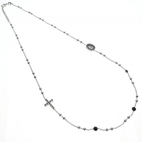 Arteregalo - Coroncina corta argento con cristalli neri.
