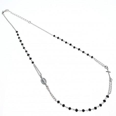 Arteregalo - Coroncina corta argento con cristalli sfaccetati neri.
