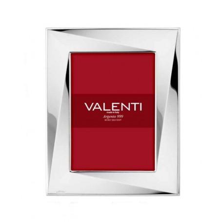 Valenti - Portafoto lucido in argento laminato, retro legno. 52070