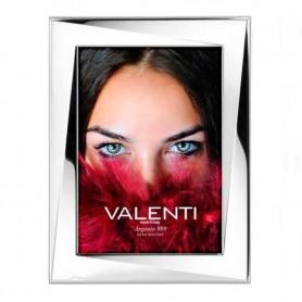 Valenti - Portafoto lucido in argento laminato, retro legno. 51042