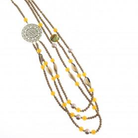 Moesi - Collana con murrine ambra e particolari dorati.