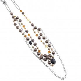 Arteregalo - Collana con pietre, perle e cristalli.