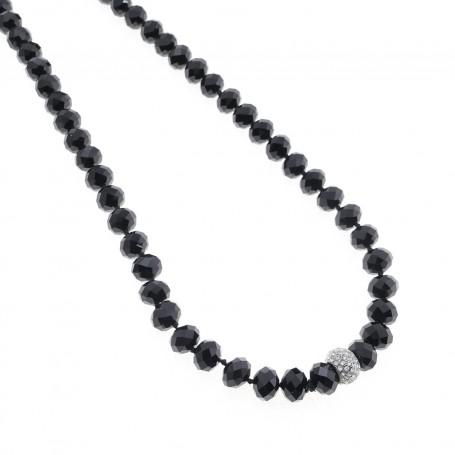 Arteregalo - Collana con cristalli neri e sfera con strass.