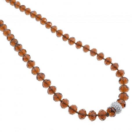 Arteregalo - Collana con cristalli ambra e sfera con strass.