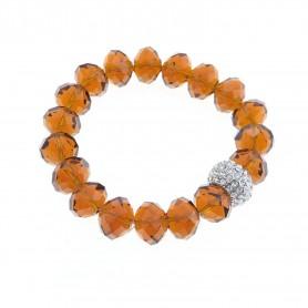 Arteregalo - Bracciale con cristalli ambra e sfera con strass.