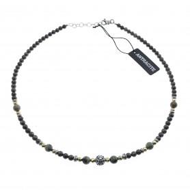 Antracite - Collana uomo argento 925 cm 50 con bronzite, pirite, turchese africano.