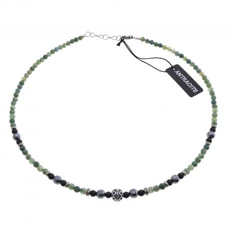 Antracite - Collana uomo argento 925 cm 50 con agata muschiata, ematite, agata nera satinata.