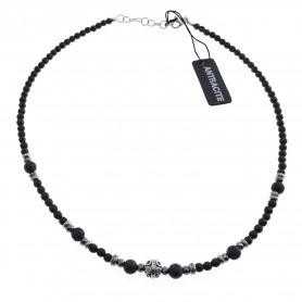 Antracite - Collana uomo argento 925 cm 50 con agata nera satinata, ematite, pietra di luna.