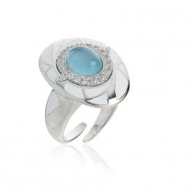Artlinea - Anello argento 925 rodiato con idrotermale azzurro. ZAN467-MB