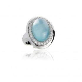 Artlinea - Anello argento 925 rodiato con idrotermale azzurro con base madreperla. ZAN450-AZ-LB