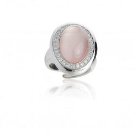 Artlinea - Anello argento 925 rodiato con idrotermale rosa con base madreperla. ZAN450-RO-LB