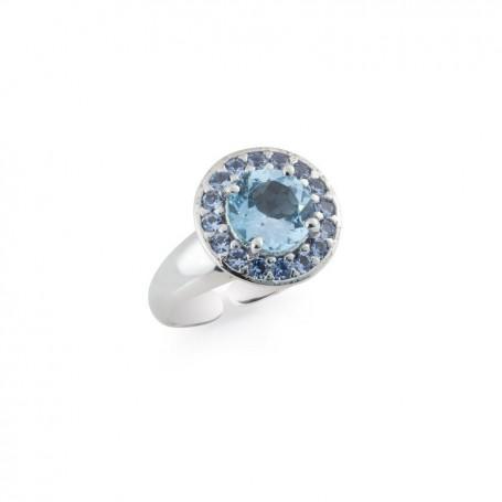 Artlinea - Artlinea - Anello argento 925 rodiato con idrotermale azzurro. ZAN339-AZ-LB