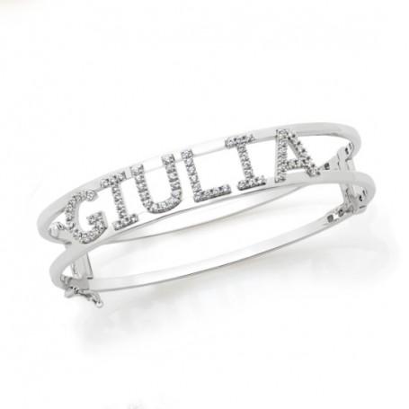 Artlinea - Bracciale a schiava / manetta in argento personalizzabile con nome, numeri o lettere.