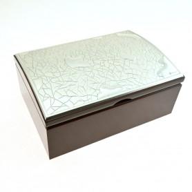 """Arteregalo - Portagioie """"International Gift"""" legno con placca argento."""