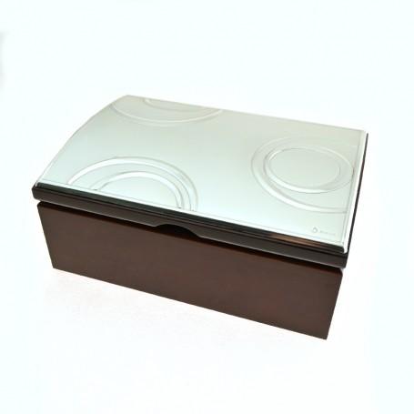 Valenti - Portagioie  legno con placca argento.