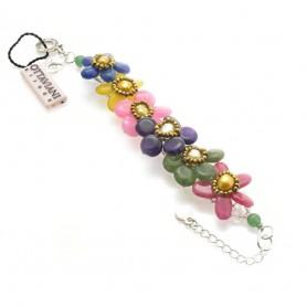 Ottaviani - Bracciale con agata, perle, lapis e cristalli. 470695