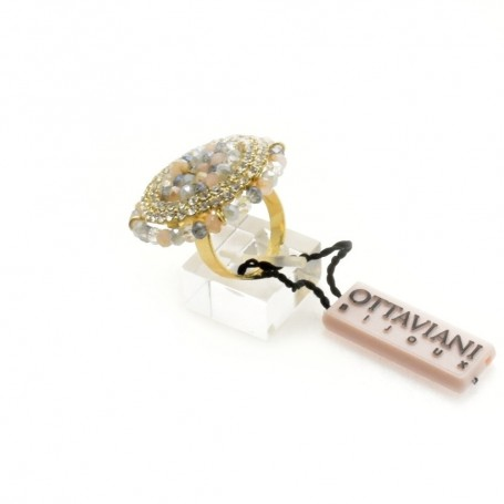 Ottaviani - Anello con perline e cristalli. 50860