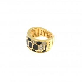 Guess - Anello gold, smalto nero e bianco effetto pitonato con cristalli. UBB91310