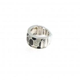 Guess - Anello silver, smalto nero e bianco effetto pitonato con cristalli. UBB91309