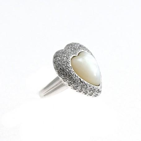 Arteregalo - Anello argento 925 con zirconi e madreperla.