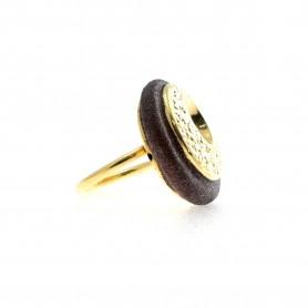Arteregalo - Anello argento 925 dorato con glitter.
