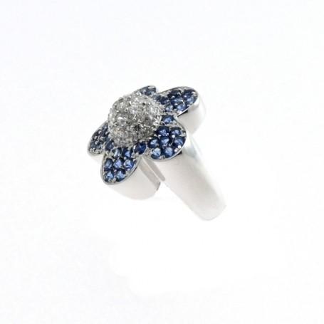 Arteregalo - Anello argento 925 con strass colore blu.