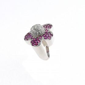 Arteregalo - Anello argento 925 con strass colore fucsia.
