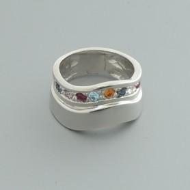 Arteregalo - Anello argento 925 con strass multicolor.