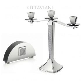 Ottaviani - Portatovaglioli in metallo rodiato con strass. 77259