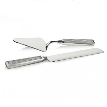 Ottaviani - Pala e coltello torta in metallo rodiato con strass. 77265