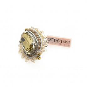 Ottaviani - Anello regolabile con perline e cristalli. 50736