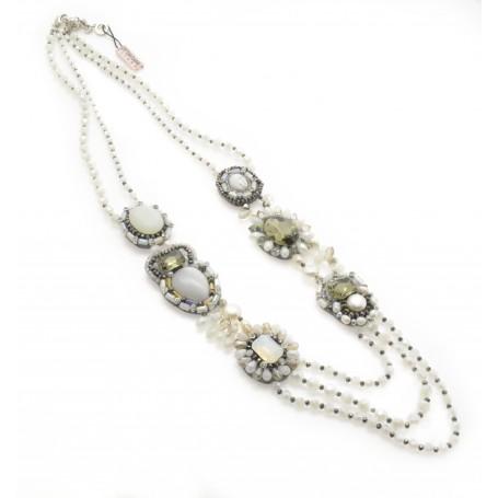 Ottaviani - Collana con cristalli, perline, strass e pietre dure. 480303