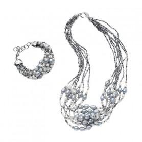 Ottaviani - Collana e bracciale con perle e cristalli. 48399 47428
