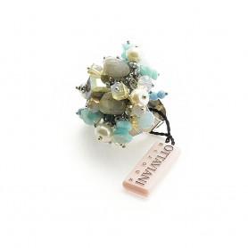 Ottaviani - Anello regolabile con perle, cristalli e pietre dure. 50807