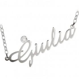Artlinea - Collana argento con swarovski personalizzabile con nome.