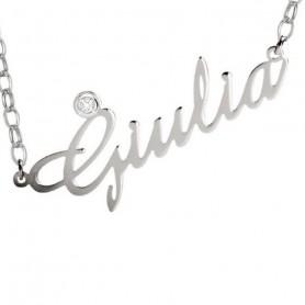 Artlinea - Collana argento piccola con swarovski personalizzabile con nome.