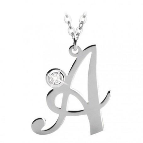 Artlinea - Collana argento iniziale grande con swarovski.