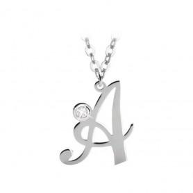 Artlinea - Collana argento iniziale piccola con swarovski.